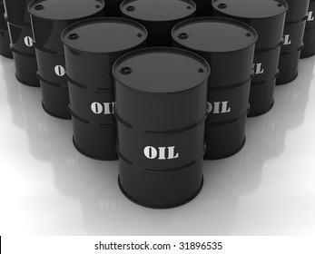"Black barrels with mark ""OIL"" stacked in form of rhomb"