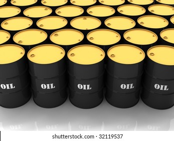 """Black barrels with mark """"OIL"""" stacked in above-ground storage"""