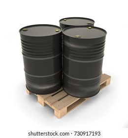 Black barrels on a pallet (3d illustration)