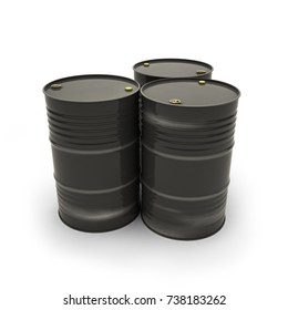 Black barrels on a white background (3d illustration)