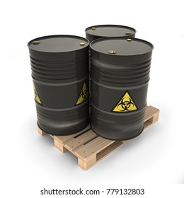 Black barrels with toxic materials on the pallet (3d illustration)