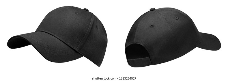 Black baseball cap in angles view front and back. Mockup baseball cap for your design