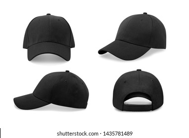 Black baseball cap in four different angles views. Mock up.  - Shutterstock ID 1435781489