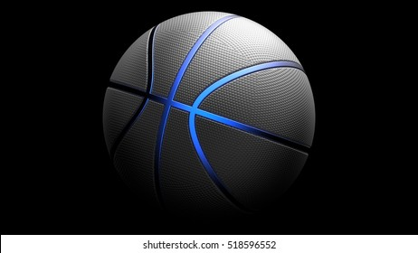 Black Basketball with Blue Line. 3D illustration. 3D CG. High resolution.