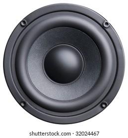 Black bass loudspeaker isolated on white background