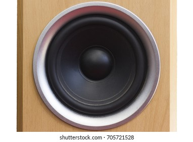 black bass speaker cone in wooden cabnet