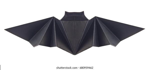 Black bat of origami, isolated on white background.