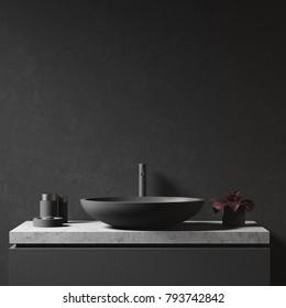 Black bathroom sink of an original shape standing near a black wall. Front view. 3d rendering mock up