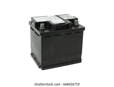 Black batteries car type AGM  with a capacity of 12 volts 50 Amp with warning signs of safety in operation isolated on white background.