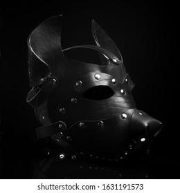black bdsm dog leather mask on black