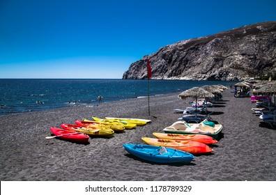Black beach of Kamari on  Santorini, Greece.