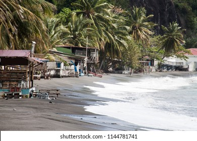 Black beach in St. Pierre on the island of Martinique