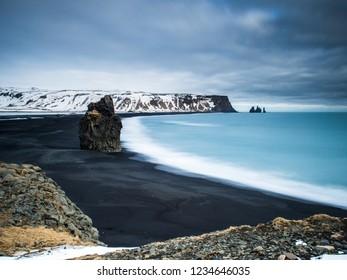 Black beach at Vik seen from Dyrhólaey, Iceland.