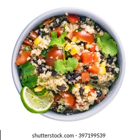 Black bean quinoa salad isolated top view