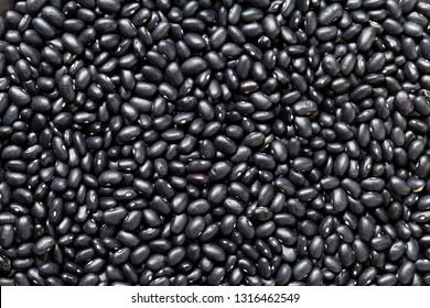 Black Beans or Vigna mungo background.Top view