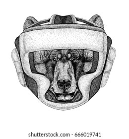 Black bear American bear Wild boxer Boxing animal Sport fitness illutration Wild animal wearing boxer helmet Boxing protection Image for t-shirt, poster, banner