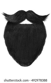 Black beard with curly mustache isolated on a white background