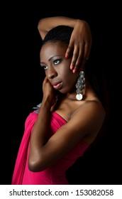 The black  beautiful girl with beautiful make-up