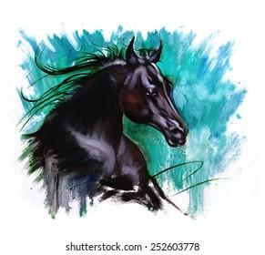 Black beauty Horse dramatic painting jade back