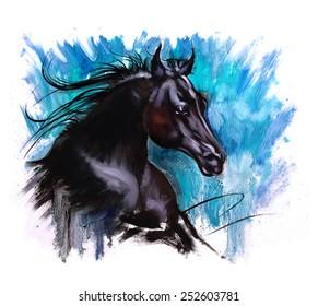 Black beauty Horse dramatic painting blue back