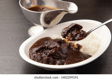 Black beef curry rice with Japanese food
