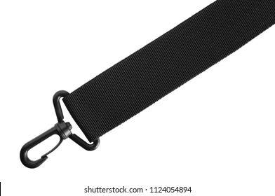 Black belt rope strap lanyard. Hanging plastic clasp snap latch hook carabiner. Isolated macro closeup, horizontal copy space and large detailed closeup. Help concept metaphor