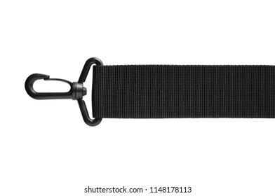 Black belt rope strap lanyard, hanging plastic clasp snap latch hook carabiner, isolated macro closeup, horizontal. Help concept metaphor