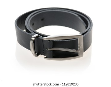 Black belt with stainless buckle isolated on white background