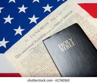 black bible with declaration of independence and ensign of the USA