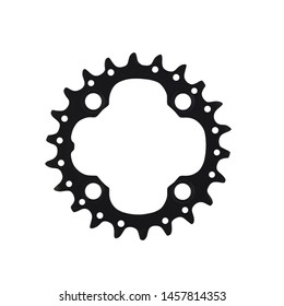 Black bicycle chainring component for bikes isolated on white background