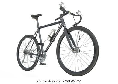 black bicycle closeup isolated on white background