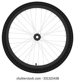 Black bicycle wheel raster isolated, bike wheel, bicycle tire