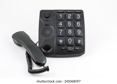 Black Big Button Telephone - Receiver diagonal to side of phone