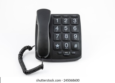Black Big Button Telephone - Receiver on phone