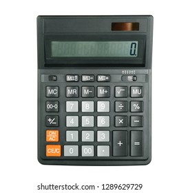 Black big calculator on white background. Isolated