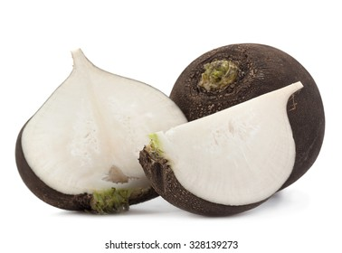 Black big radish slice vegetable closeup isolated on white