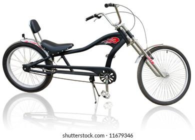 Black bike isolated on black background