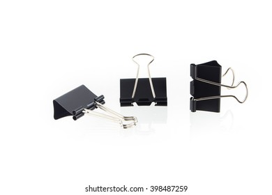 Black Binder clip,Paper Clips on White Background