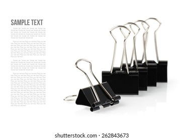 black binder clips isolated on white background