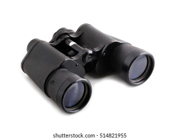 Black binoculars isolated on white background.