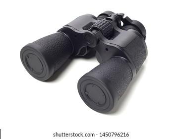Black binoculars on white background