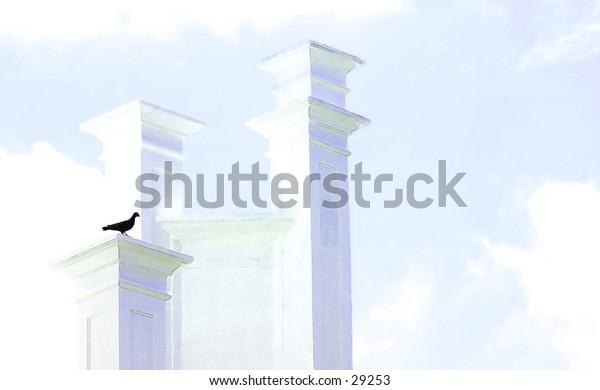 Black Bird Perched On White Columns - Digital Art - Concept Photo