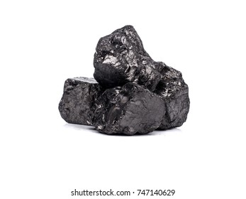 black bituminous coal on white background, fossil source of heat energy