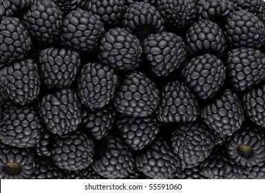Black blackberry texture or background. CG render