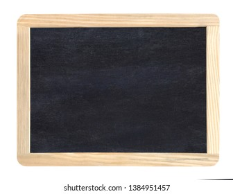 Black blank chalkboard with wooden frame including clipping path