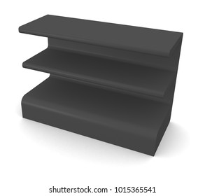 Black Blank Empty POS POI Floor Display Showcase or Stand with Rack Shelves for Supermarket, Bank, Shop or Storefront Isolated On White Background. 3D illustration