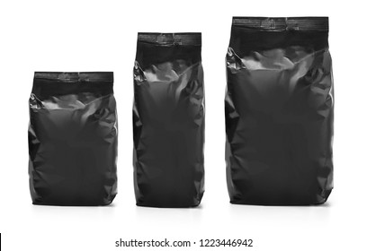 black blank foil food or drink bag packaging, Plastic pack template ready for your design.