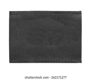black blank leather jeans label isolated on white