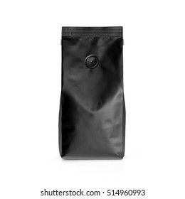 Black blank matte plastic paper bag front view isolated on white background. Packaging template mockup collection. With clipping Path included. Aluminium coffee package.