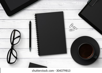 Black blank notebook and accessories, mock up